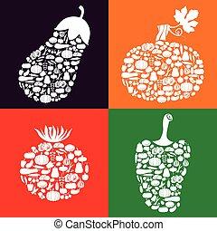 färg, grönsaken, sätta, ikon