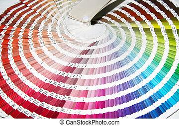 färg, guide, till, tändsticka, färger, för, tryckning