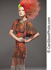 färg, haired, kvinna, tröttsam, röd klä