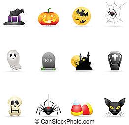 färg, -, halloween, ikonen