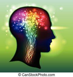 färg, hjärna, neurons, mänsklig