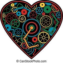 färg, hjärta, mekanisk