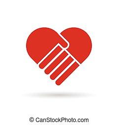 färg, hjärta, röd, illustration, räcker