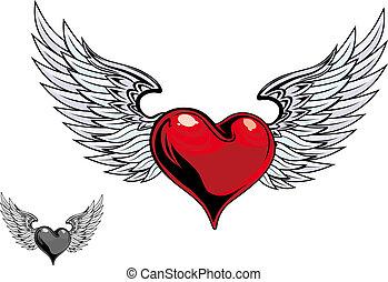 färg, hjärta, retro, tatuera