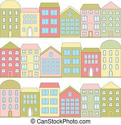 färg, hus, vektor, tecknad film, illustration