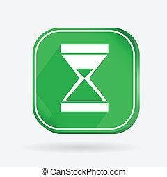 färg, ikon, med, shadow., timglas, väntan