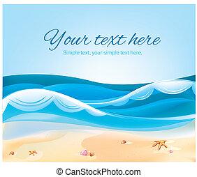färg, illustration, av, ocean, strand, in, den, sommar