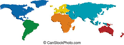 färg kartlagt, 3, kontinent, land