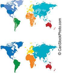 färg kartlagt, kontinent, land
