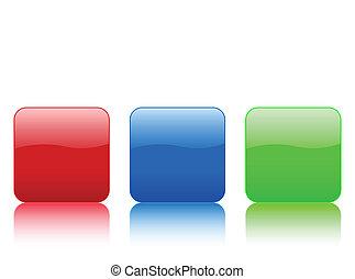 färg, knapp, fyrkant, rundat