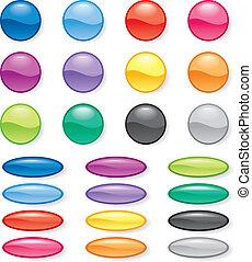 färg, knapp, sätta