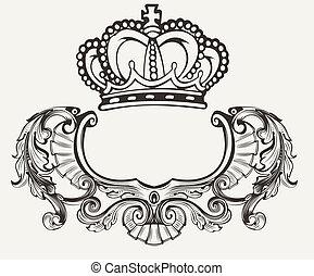 färg, krona, hjälmbuske, komposition, en