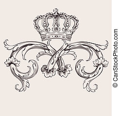färg, kunglig krona, buktar, en, årgång, baner