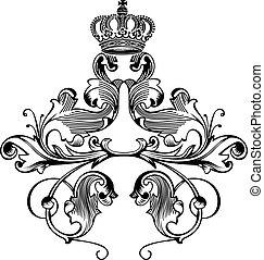 färg, kunglig krona, buktar, en, elegant, retro