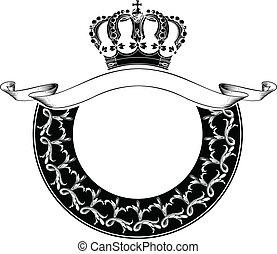 färg, kunglig krona, en, cirkel, komposition