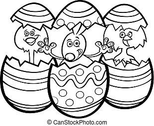 färg, kycklingarna, tecknad film, bok, påsk kanin