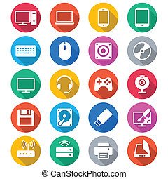 färg, lägenhet, dator ikon