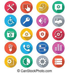 färg, lägenhet, inställning, ikonen