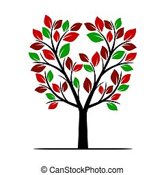 färg, leafs., vektor, träd, illustration.