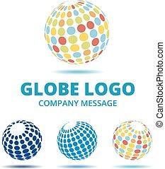 färg, logo, mång-, klot