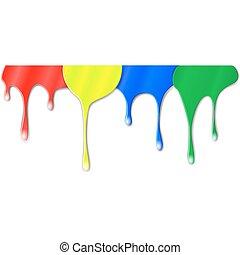 färg, måla, drypande
