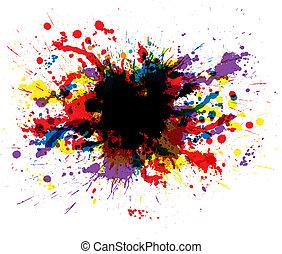 färg, måla, stänk