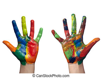 färg, målad, barn, hand, konst, hantverk