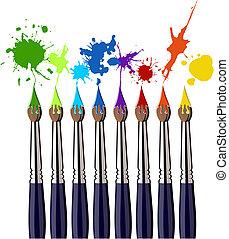 färg, målarfärg borstar, plaska