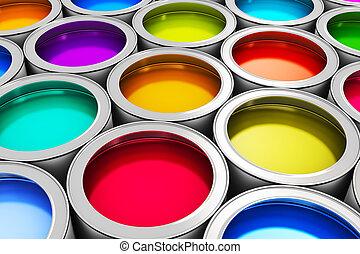 färg, målarfärg burk