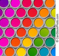 färg, målarfärg konservburk, burkar, topp se