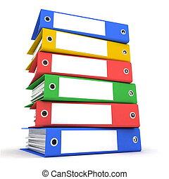 färg, mappar, för, papper
