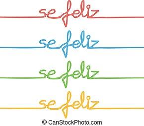 färg, meddelande, lycklig