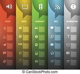 färg, olik, papper, baner, ikonen