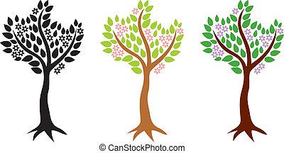 färg, olik, sätta, träd