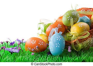 färg, påsk eggar, in, korg, isolerat, vita