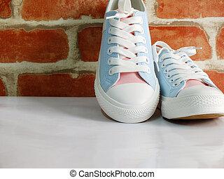 färg, pastell, Gymnastiksko, dam