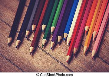 färg, pencils., foto, in, årgång, färg avbild, style.