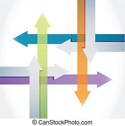 färg, pilar, illustration, design