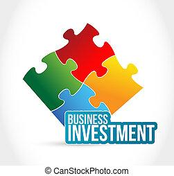 färg, pussel del, investering, affär