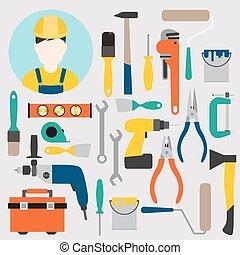 färg, redskapen, för, reparera, och, hem, improvement., vektor, illustration.