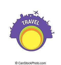 färg, resa, vektor, silhuett
