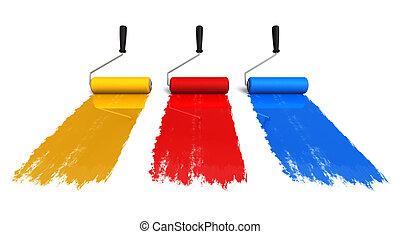 färg, roller, borstar, med, spår, av, måla