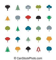 färg, sätta, träd.