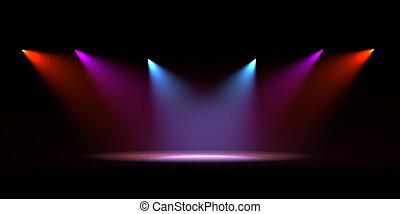 färg, scen, lätt