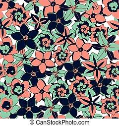färg, seamless, tropisk, vektor, bakgrund, blomningen