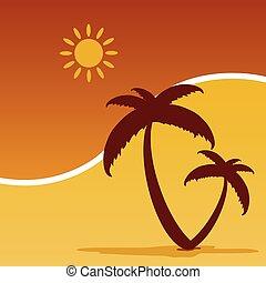 färg, sommar, vektor, palm, icom