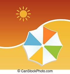 färg, sommar, vektor, paraply