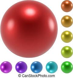färg, spheres, vektor, sätta, glatt