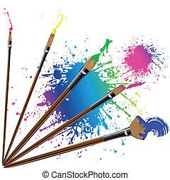 färg, stänk, målarpensel