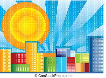 färg, stad, vektor, illustration